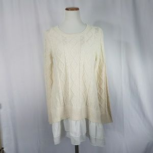 Layered Look Cream White Cable Knit Tunic Sweater